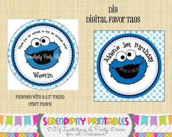Cookie Monster Inspired Collection: Digital Favor Tags