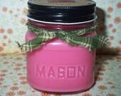 WATERMELON Soy Candle - Handmade - Premium Scented - Mason Jar - Natural Soybean Wax - 8 oz