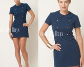 Vintage 60s MOD Twiggy Style Navy Blue Pan Collar Military GOGO mini dress - S
