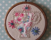 Embroidery Hoop Art - More tea Vicar.  Hand  embroidered and embellished.
