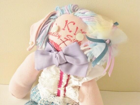 Bunny Doll - Handmade Doll - Kawaii Bunny Plush - OOAK Plush- Kawaii Pink Bunny