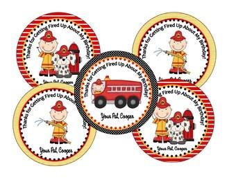 Firetruck Favor Tags, Birthday Parties, School Parties DIY Printable File
