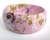 Bangle - Pink Vintage Style Roses -Ladies Fashion Accessory