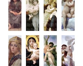 Bouguereau Digital Collage Sheet - 1 x 3 inch rectangle digital collage - microscope slide collage sheet - Instant Download
