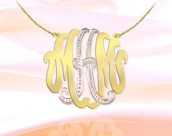 Monogram Necklace - 1.25 inch 24K Gold Plated Sterling Silver Handcrafted - Personalized Monogram  - Made in USA