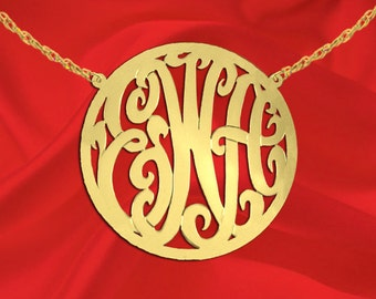 Monogram Necklace - 1.75 inch 24K Gold Plated Sterling Silver - Handcrafted Designer - Initial Necklace - Circle Boarder - Made in USA