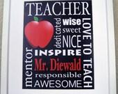 Personalized Teacher Gift / The Original / Custom Wall Art Print for Teacher's Class - Teacher Appreciation Gift - Custom Subway Sign