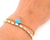 Turquoise glass cabochon bracelet - Delicate everyday jewelry
