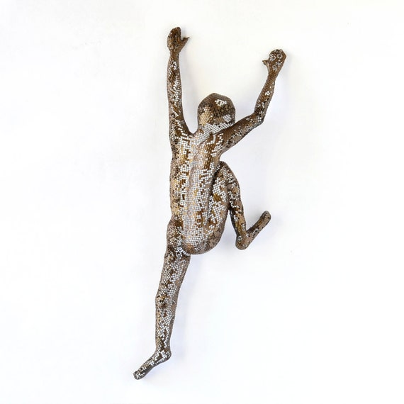Contemporary metal wall art - Climbing man sculpture - wire mesh sculpture