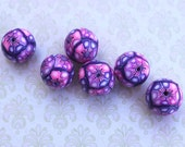 Polymer Clay round beads, elegant beads in a variety of pinks, purple and white. Millefiori unique beads pattern, Set of 6