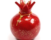 Red pomegranate home decor, prosperity symbol, Polymer clay Pomegranate, one pomegranate in red and shiny gold, Rosh hashanah gift