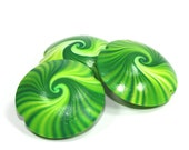 Green mint swirl Lentil Beads Polymer Clay in greens and white, unique pattern, Set of 3