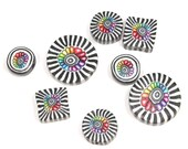 Polymer Clay colorful beads, unique set of rainbow flower, round and square beads with black and white stripes. Set of 8
