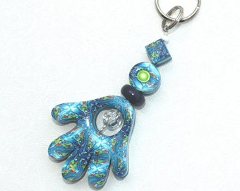 Polymer clay Hamsa keychain, Accessories, handmade keychain in blue, white, turquoise and green