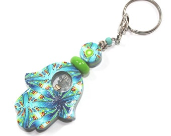 Polymer clay Hamsa keychain, Accessories, handmade keychain in blue, white, turquoise, green together with small red and yellow dots