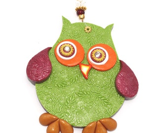 Children room decor, owl wall decor, polymer clay elegant owl in maroon, green, orange, gold and red