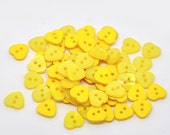 Heart Shaped Resin Plastic Buttons Two Holes Yellow  20 Pack PB17