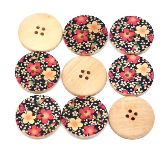 5 Floral (3) Painted Wood Button Four Hole Natural Wood Colour 30mm - 5 Pack NPB21