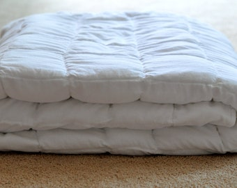 """Queen 60""""X84"""" custom white or off white cotton  weighted blanket"""