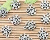 80pcs Tibetan Silver 2sided mini snowflake design charms  EF0014