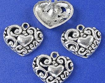 25pcs dark silver tone heart charms h3124
