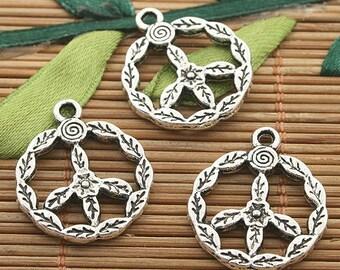 20pcs dark silver tone peace sign charms h3219