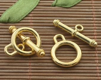 15sets gold tone toggle clasp h3381