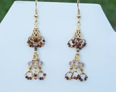 Handmade Artisan Earrings, Beaded, Dangle, Swarovski Crystal, Glass Seed Beads, Fall Colors, Autumn, French Ear Wires, Multi Color, Gold