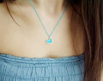 Resin heart necklace, turquoise coloured, sterling silver, hand polished heart pendant, tiny turquoise heart, modern minimalist heart