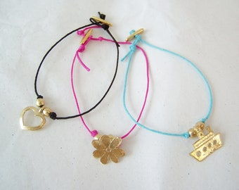 Colorful cord bracelet with a brass charm, heart charm bracelet on black cord, gold heart charm bracelet