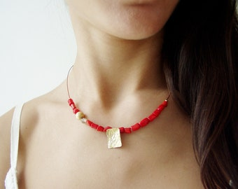 Red coral necklace gold plated sterling modern minimal