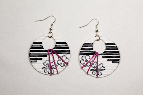 Black & white earrings, black striped earrings, pink stripes black flower, fimo polymer clay, handmade jewelry,OOAK