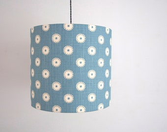 Handmade drum teal spot lampshade blue linen uk