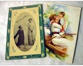2 Antique Postcards Lovers Romance Romantic Vintage Paper Ephemera Cottage Chic