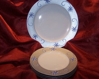 Silver with Blue Snowflake Handpainted Dessert Set
