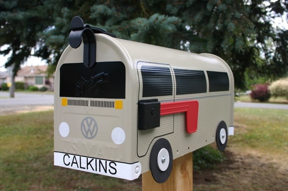 Bay Window Tan Volkswagen Bus Mailbox by TheBusBox Custom made - Choose your color - BayBusBox