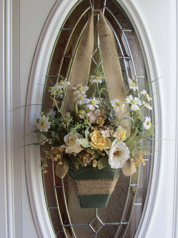 front door wreath summer wreath wall pocket shabby chic