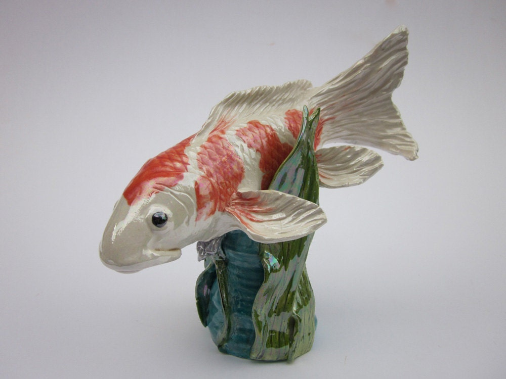 hand made koi fish sculpture ceramic koi fish ceramic by