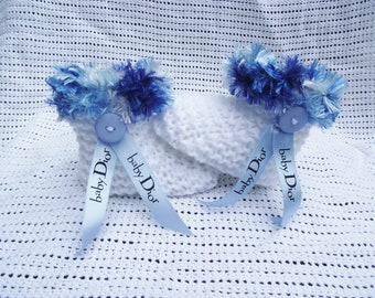 baby boy  boots/ booties with designer ribbon