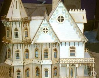 Leon Gothic Victorian Mansion Dollhouse Half inch scale Kit