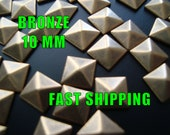 40 Pcs - 10MM DIY Pyramid Flat Back Studs - Save 15% Use  Coupon Code: 28994 - Iron On Studs - BRONZE - Great on All Projects- Fast Shipping