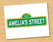 Sesame Street Name Sign Logo Personalized Printable - Birthday Party Decor - Wall Art
