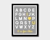 Printable Alphabet Nursery Art 'I Love You' Personalized Name - Children's Art - 8 x 10 - DIY Digital