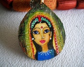 Tear Drop MDF Pendant - Hand Painted Indian Princess Like Face in cloth beaded necklace.