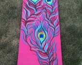 Hand Painted Yoga Mat- Peacock Feathers