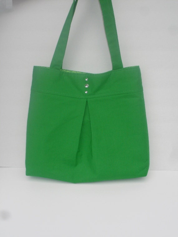 SALE Green bag with sparkle gem buttons