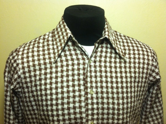 1970's Arrow Kent Collection Brown and White Checkered Long Sleeve Mens Shirt