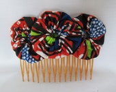 African fabric yoyo flower hair comb