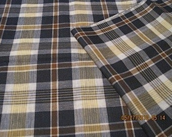 """vintage plaid cotton fabric, navy, brown, yellow, 1.75 yds x 50"""""""