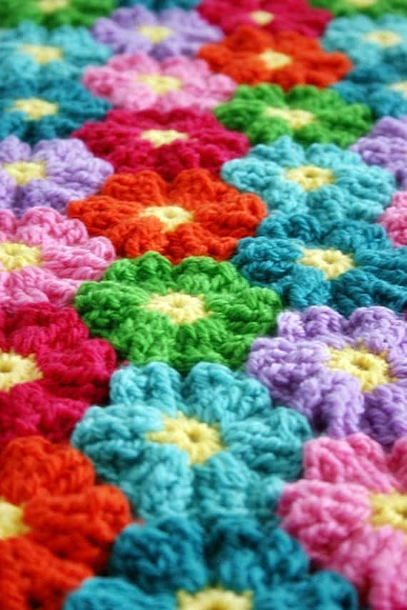 Crochet Flower Pattern Blanket : Blanket Crochet Pattern Waikiki Wildflower by FeltedButton ...